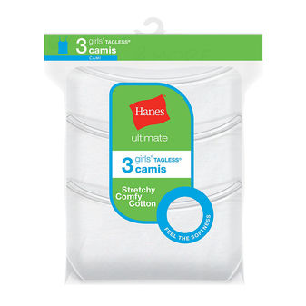 Hanes Ultimate Girls\' Cotton Stretch Cami 3-Pack GUCSC3