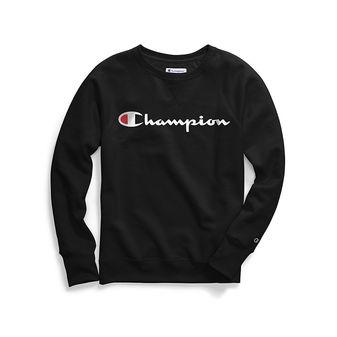 Champion Women\'s Plus Powerblend Fleece Boyfriend Crew, Script Logo