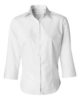 Van Heusen Women\'s Three-Quarter Sleeve Baby Twill Shirt 13V0527