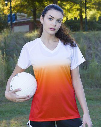 Badger Women\'s V-Neck Ombre T-Shirt 4207