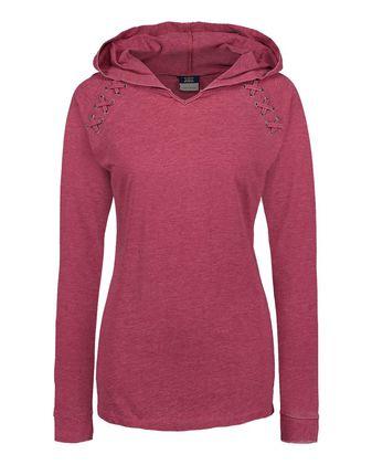 MV Sport Women\'s Lace Shoulder Hooded Pullover T-Shirt W19467