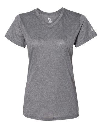 Badger Women\'s Triblend Performance V-Neck Short Sleeve T-Shirt 4962