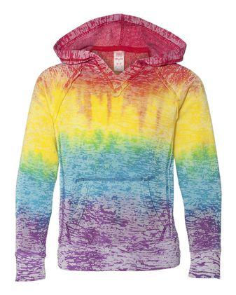 MV Sport Girls\' Courtney Burnout V-Notch Hooded Sweatshirt W1162Y