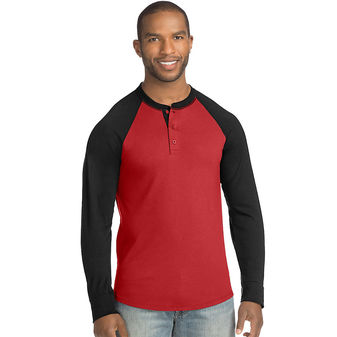 Hanes Big Men\'s Fresh IQ X-Temp Colorblock Long-Sleeve Raglan Henley Tee 2X-3X 5A61