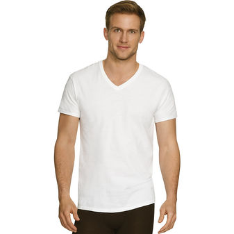Hanes Men\'s Comfort Fit Ultra Soft Cotton/Modal V-Neck Undershirt 4-Pack CFFVC4
