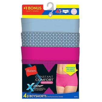 Hanes X-Temp Constant Comfort Womens Microfiber Boyshort Panties 4-Pack MI47P4