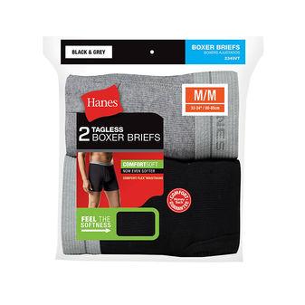 Hanes Men\'s Red Label Boxer Brief Blk/Grey P2 2349VT