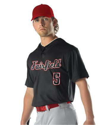 Alleson Athletic Youth Two Button Mesh Baseball Jersey With Piping A00021