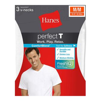 Hanes ComfortBlend Mens Perfect T White V-Neck Undershirt 3-Pack 7577H3