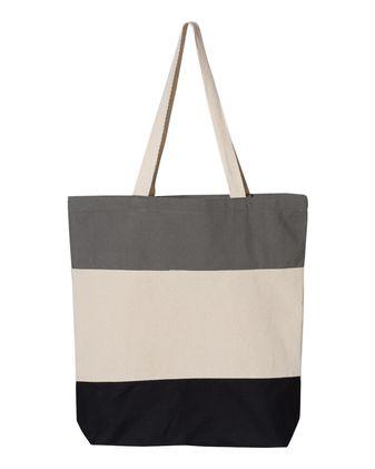 Q-Tees Canvas Tri-Color Tote Bag Q125900
