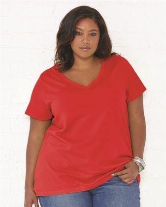 LAT Curvy Collection Women\'s Premium Jersey V-Neck Tee 3807