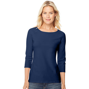 Hanes Stretch Cotton Women\'s Raglan Sleeve Tee Shirt O9343