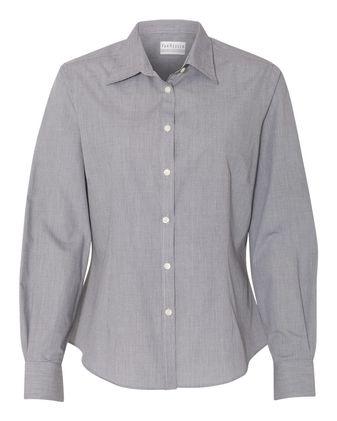 Van Heusen Women\'s Yarn Dyed Mini Check Long Sleeve Shirt 13V0427