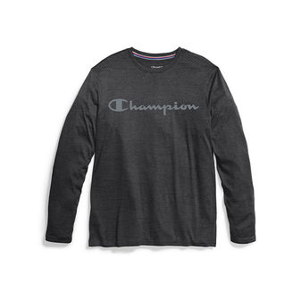 Champion Double Dry Men\'s Heather Long-Sleeve Tee, Script Logo T3760G 549988