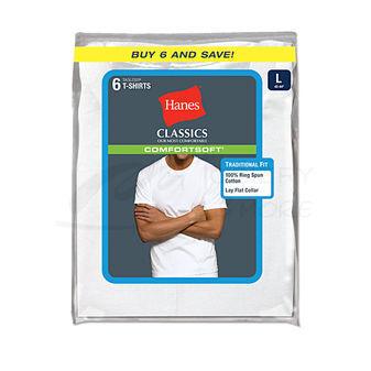 Hanes Classic Mens White Crew Neck T-Shirt 6-Pk 7870W6