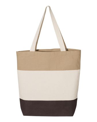 Q-Tees Canvas Tri-Color Tote Bag Q125900