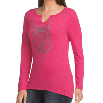 Hanes Women\'s Long-Sleeve Split Neck Graphic Tee 9362