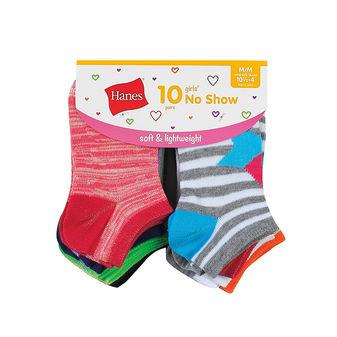 Hanes Girls\' Fashion No Show Socks 10-Pack HGFN10