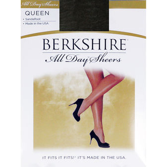 Berkshire Women\'s Plus-Size Queen All Day Sheer Non-Control Top Pantyhose - Sandalfoot 4416