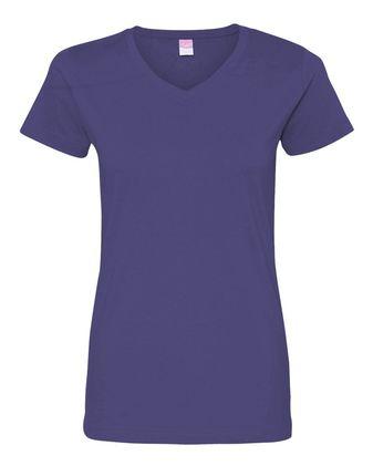 LAT Women\'s V-Neck Fine Jersey Tee 3507