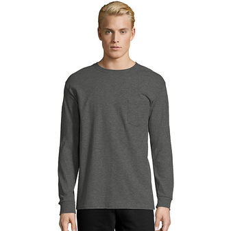 Hanes Men\'s TAGLESS® Long-Sleeve T-Shirt with Pocket 5596