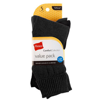 Hanes Women\'s Comfort Collection Cuff Socks 5-Pack 857/5P