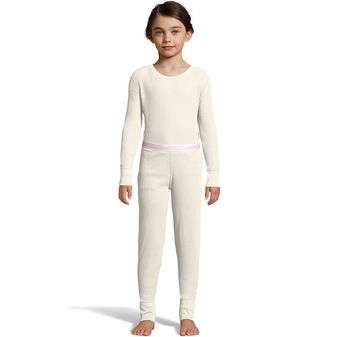 Hanes Girls\' Solid Waffle Knit Thermal Set 125703