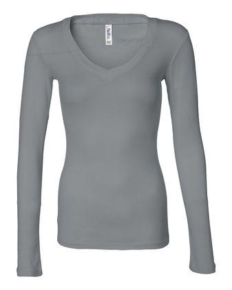 BELLA + CANVAS Women\'s Long Sleeve Sheer Mini Rib V-Neck Tee 8750