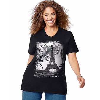Just My Size L\'Amour Paris Short Sleeve Graphic Tee GTJ181 Y06453