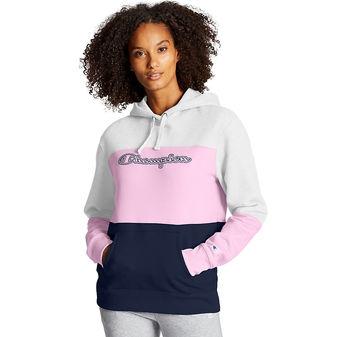 Champion Powerblend Colorblock Hoodie. Script Logo W4420 Y08104