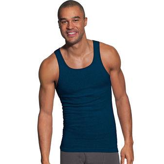 Hanes Men\'s FreshIQ ComfortSoft Dyed Assorted Colors Tank Undershirt 5-Pack 392DA5