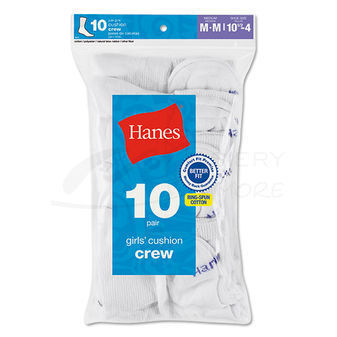 Hanes Girls  Crew Sock 10 pair 641/10