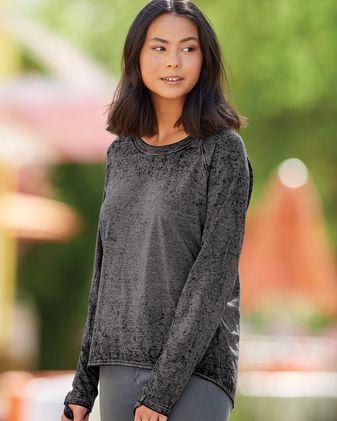 J. America Women\'s Zen Jersey Hi-Low Long Sleeve T-Shirt 8118