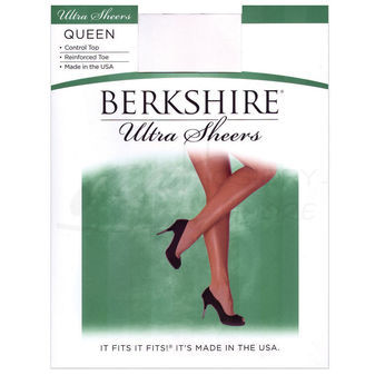 Berkshire Women\'s Plus-Size Queen Ultra Sheer Control Top Pantyhose with Toe 4418