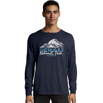 Hanes Men\'s ComfortWash Denali Park Mountains National Park Long Sleeve Tee