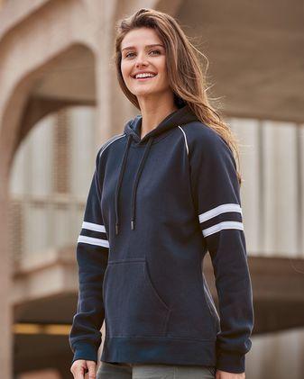J. America Women\'s Varsity Fleece Piped Hooded Sweatshirt 8645