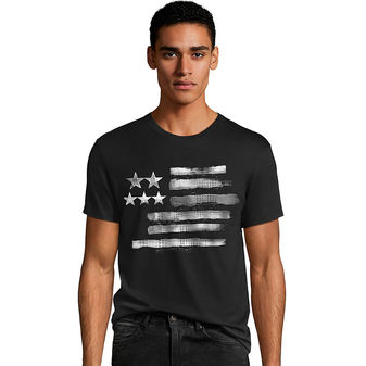 Hanes Men\'s Black & White Flag Graphic Tee GT49 Y06375