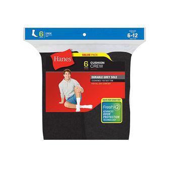 Hanes Men\'s Cushion Crew Socks 6-Pack 185/6