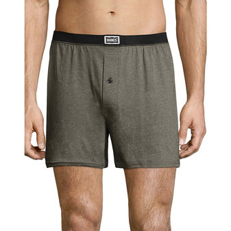 Hanes Men\'s 1901 Heritage Dyed Knit Boxers Assorted 4-Pack 191BP4