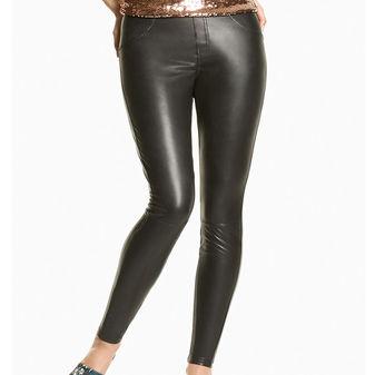 HUE Leatherette Curvy Leggings U17998