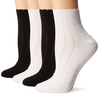 HUE Scalloped Tipped Sock 4 Pk U17786