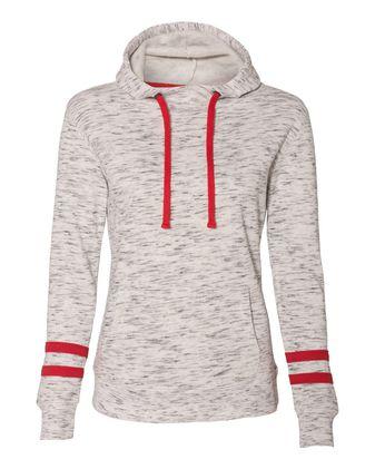 J. America - Women\'s Melange Fleece Striped-Sleeve Hooded Sweatshirt - 8674