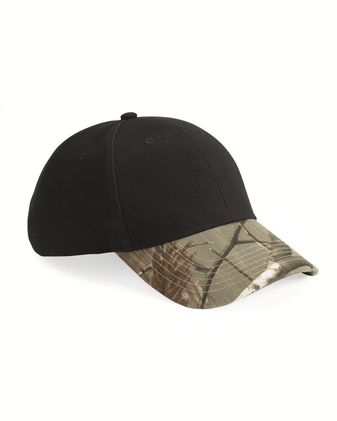 Kati Solid Crown Cap with Camo Visor LC25