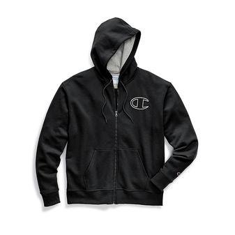 Champion Men\'s Powerblend Fleece Zip Hoodie, Chainstitch Outline C Logo