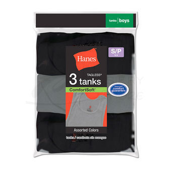 Hanes Boys Dyed Tanks Undershirts 3 pair B392P3