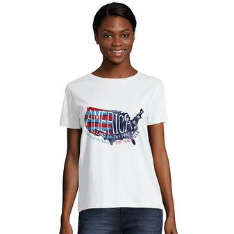Hanes Women\'s Americana Map Graphic Tee O5680A Y08290