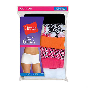 Hanes Womens Cotton Boy Brief Panties 6-Pk P649AS