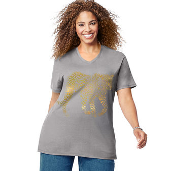Just My Size Gold Leopard Short Sleeve Graphic Tee GTJ181 Y07189