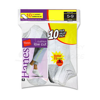 Hanes Cushioned Womens Low-Cut Athletic Socks 10-Pk 680/10