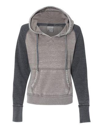 J. America Women\'s Zen Fleece Raglan Hooded Sweatshirt 8926